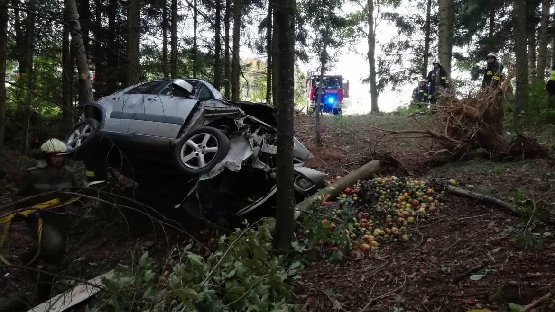 Eingeklemmte Person nach Verkehrsunfall
